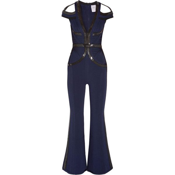 f8025944dd45 Hervé Léger Bethany sequin-embellished bandage jumpsuit (€885) ❤ liked on  Polyvore featuring jumpsuits