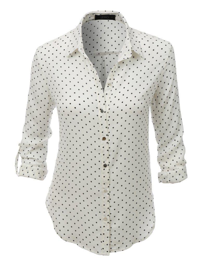 960c24ec0 LE3NO Womens Loose Chiffon Polka Dot Button Down Blouse Top   OFFICE ...