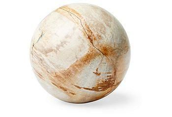 This petrified-wood sphere adds an intriguing natural element to a tabletop vignette.