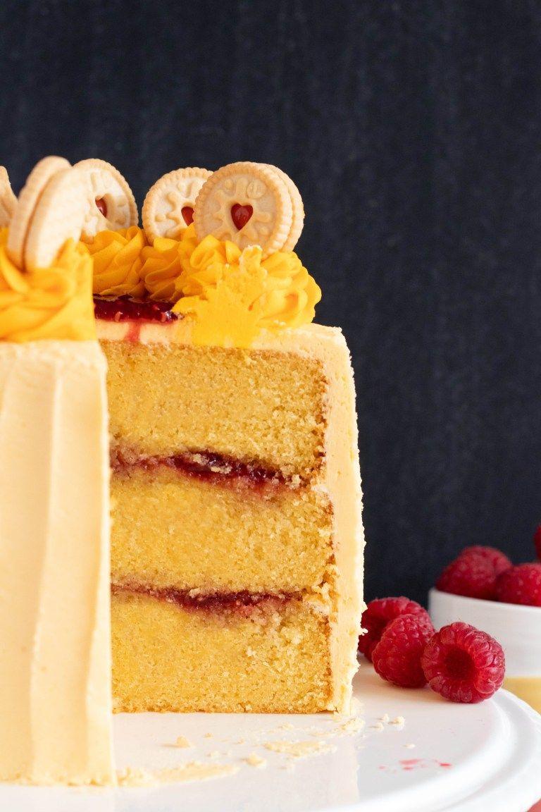 Jammie dodger jam and custard layer cake recipe minela