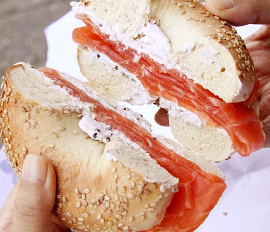 mmm bagel and lox sandwich :]  Thank God for my jewish friends or I never would have found out about this deliciousness!