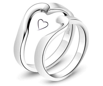 half heart rings for couples matching puzzle piece rings set in sterling silver - Puzzle Wedding Rings
