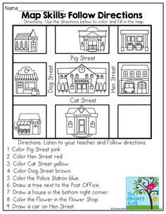 Worksheet Map Activities For Kindergarten map skills perfect for listening to and following directions activities skills