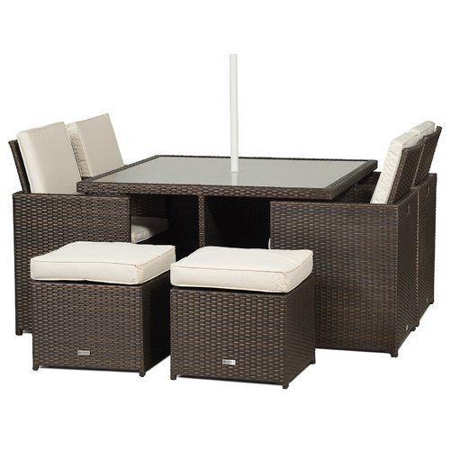 Sol 72 Outdoor Giardino 4 Seater Dining Set With Upholstery Rattan Garden Furniture Patio Furniture Pillows Rattan Furniture Set