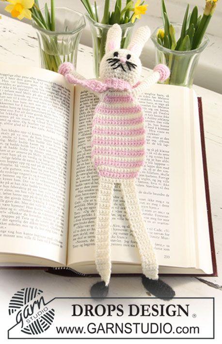 "Crochet DROPS Easter bunny book mark in ""Alpaca"". ~ DROPS Design ..."