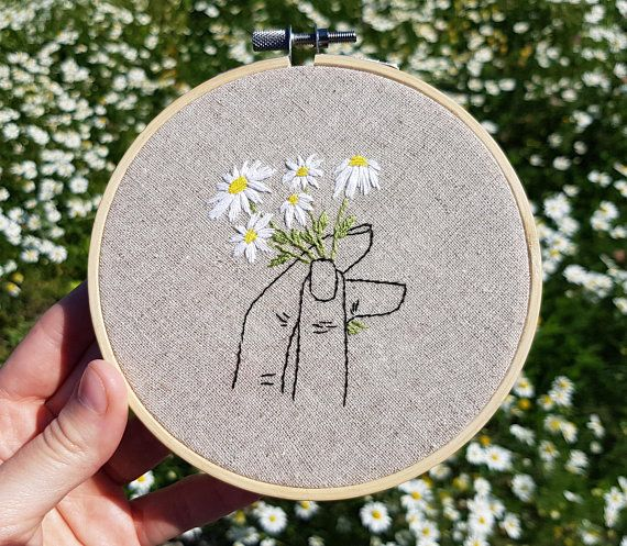 Photo of Daisy flowers embroidery hoop, Daisy bouquet, Wildflowers wall art, Embroidered home decor, Hand stitched hoop, Housewarming gift