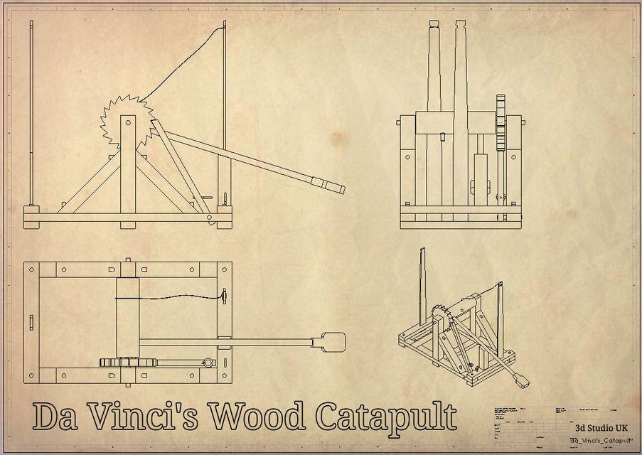 Leonardo da vinci 39 s catapult unloaded solidworks stl for Catapulta di leonardo da vinci