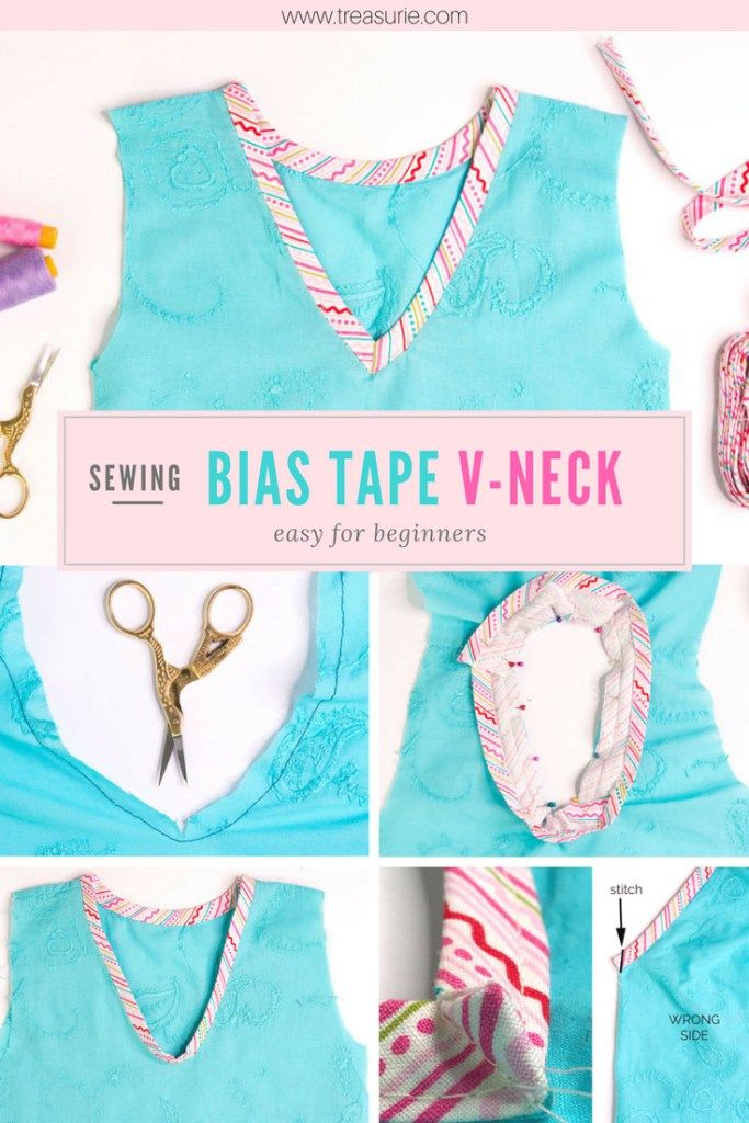 How to Sew a V Neck with Bias Tape   TREASURIE – tisort yaka