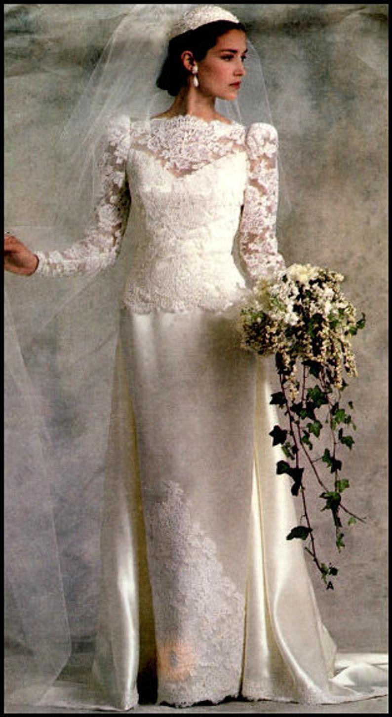 Vogue American Bridal Original 1829 Misses Dress Size 10 Uncut Vintage Bride Bridal Gowns Wedding Dresses Vintage