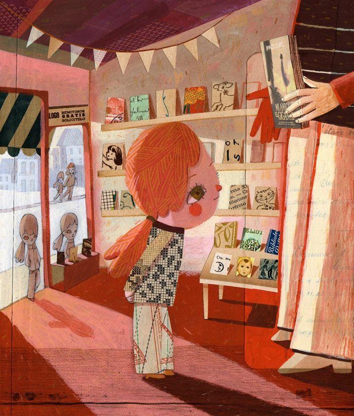 Recomendado libros en la librería (ilustración de Gustavo Aimar)