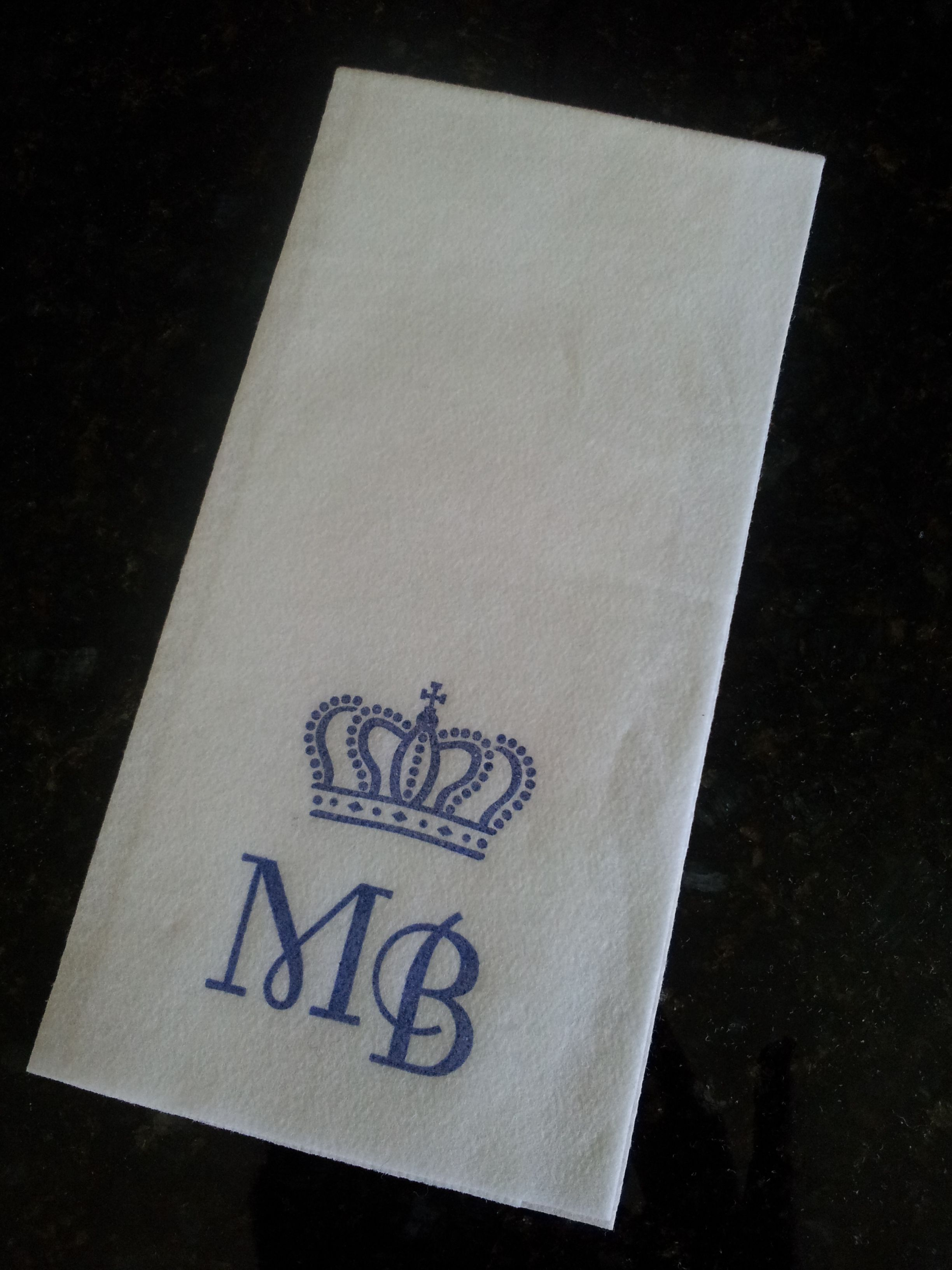 Personalized Guest Towels With A Crown In Royal Blue Ink And Large Capital Font