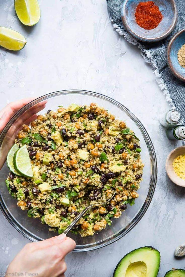 Quinoa Chickpea Avocado Salad with Black Beans | Food Faith Fitness Mexican Quinoa Chickpea Avocado
