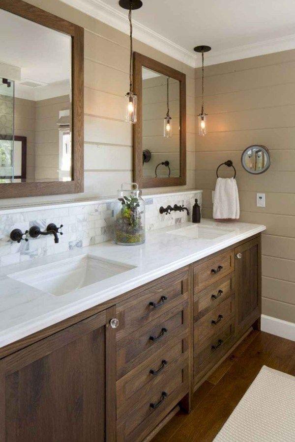 50 Amazing Farmhouse Bathroom Vanity Decor Ideas 111 Rustic Master Bathroom Bathroom Remodel Master Farmhouse Master Bathroom