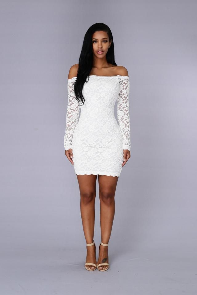 0a50df61afc Off Shoulder Lace Bodycon Dress - White in 2019 | Dresses | White ...