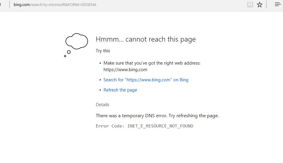 Solved: error code: inet_e_resource_not_found in Microsoft Edge