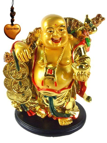 Betterdecor A Golden Happy Buddha Laughing Buddha With A Ingot