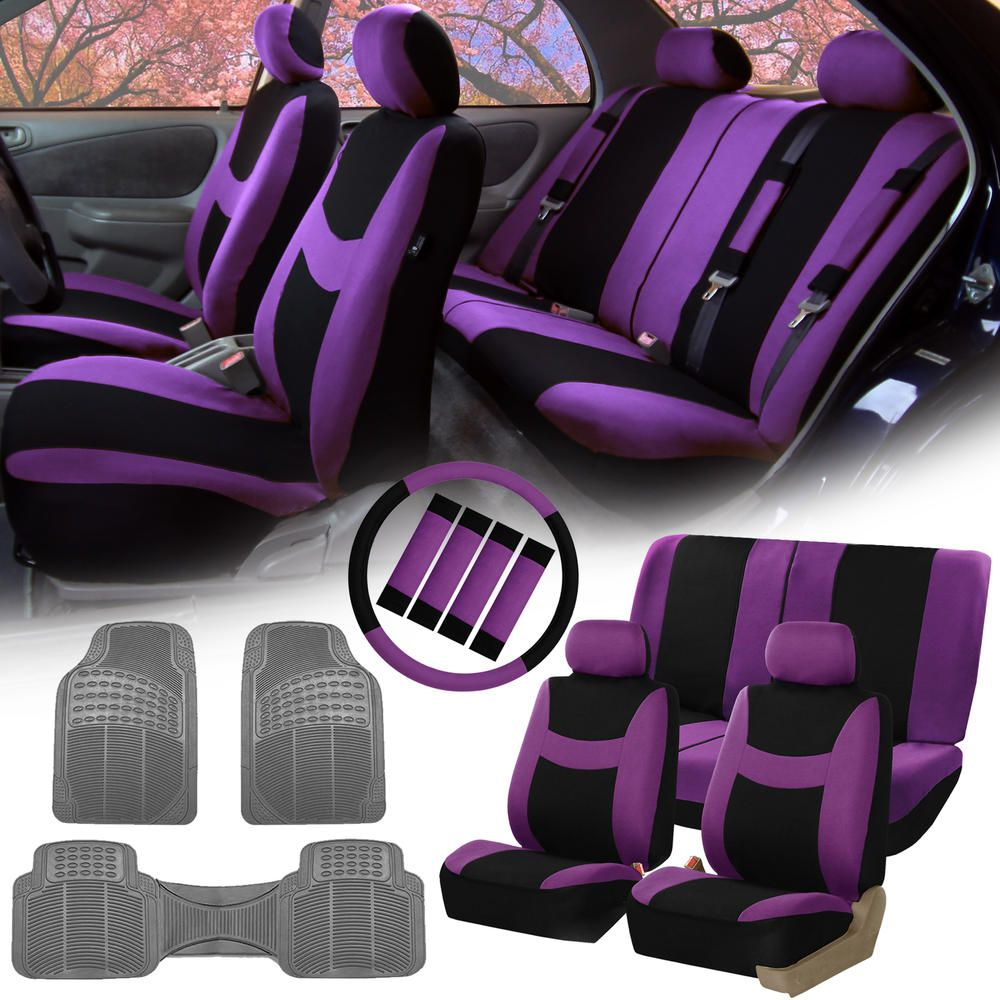 FH Group Purple Black Car Seat Covers For Auto W Steering