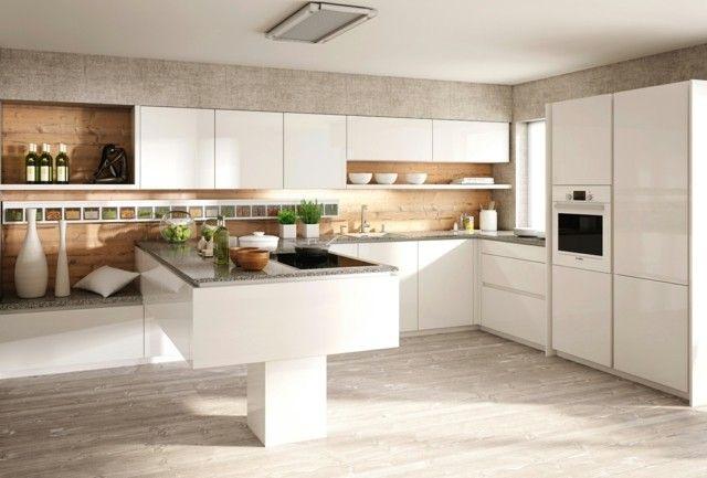 cocina blanca con muebles con laca - Cocina Minimalista
