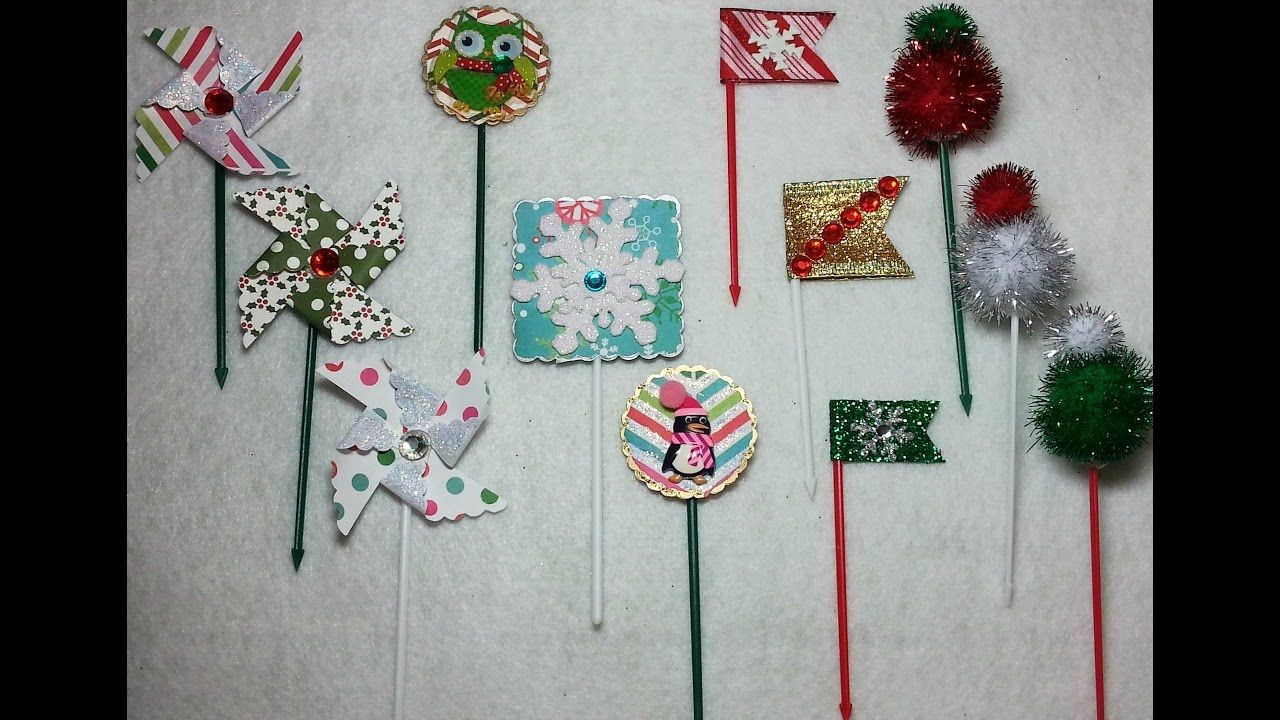 DIY4 Adorable & Easy Christmas Cupcake Toothpick Toppers