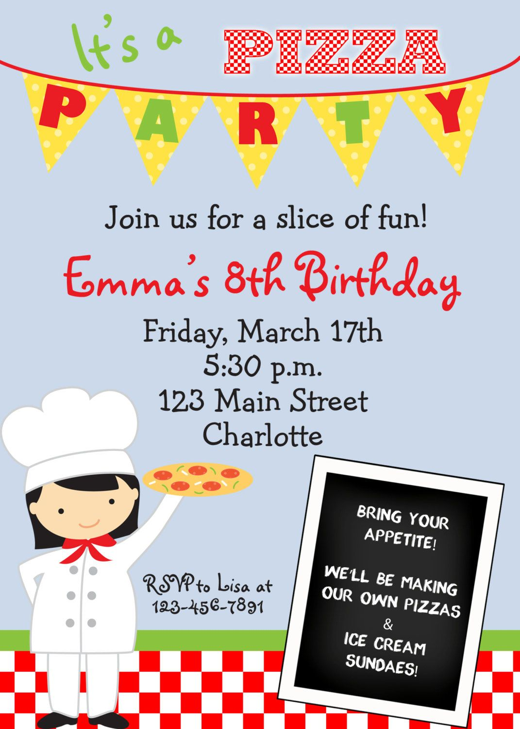 pizza party invitation - pizza birthday party -- girl or boy ...