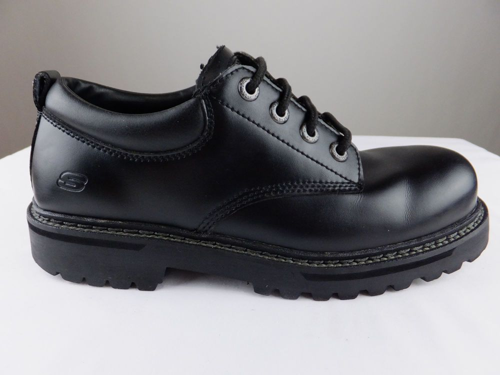 Skechers Troy Black Leather Lace Oxfords Hike Work Shoes Men