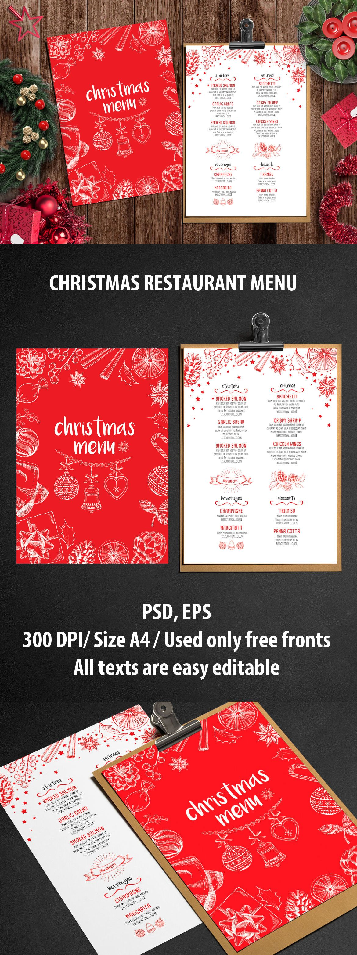 christmas menu restaurant template vector eps psd best. Black Bedroom Furniture Sets. Home Design Ideas