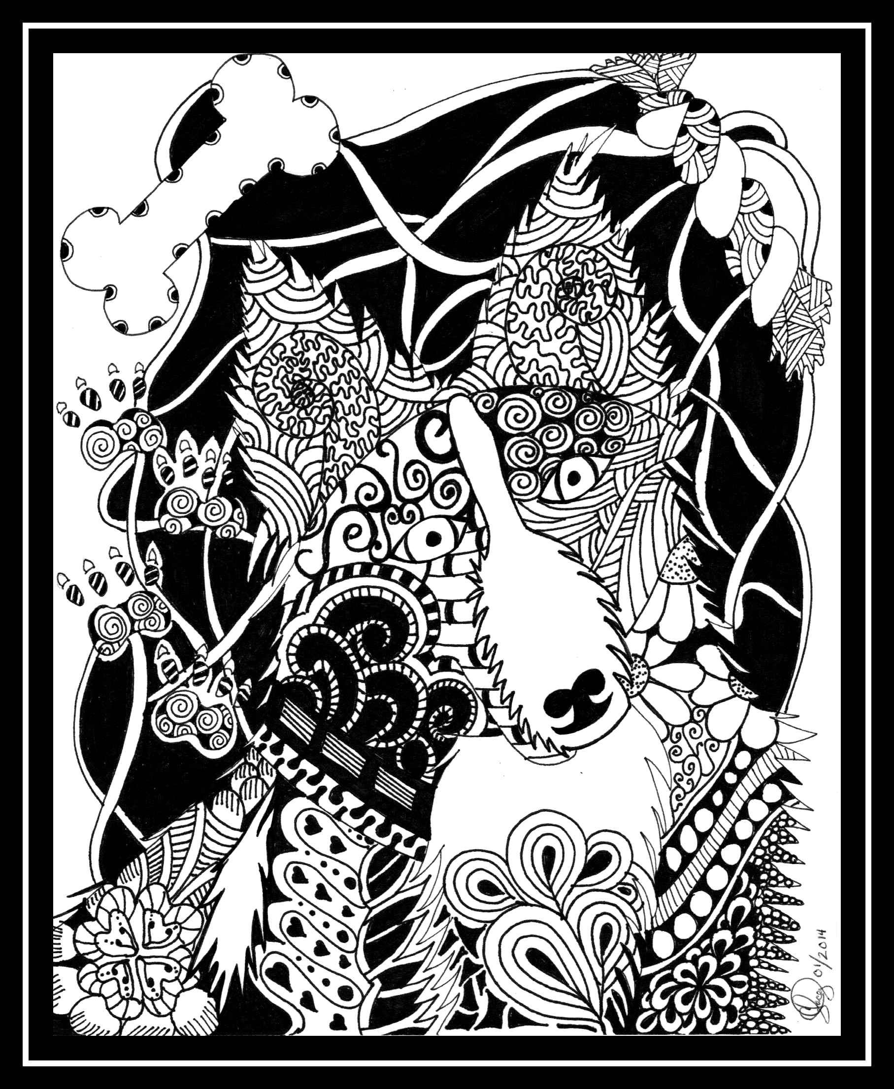 Border Collie Zentangle Dog Owl Coloring PagesColoring