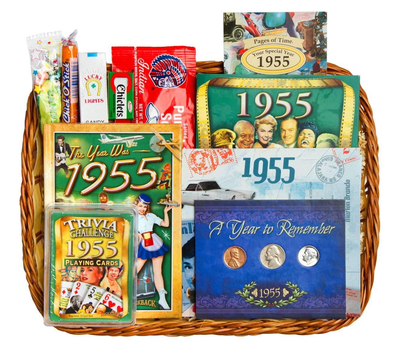 60th Anniversary Or 60th Birthday Gift Basket For 1955 60th