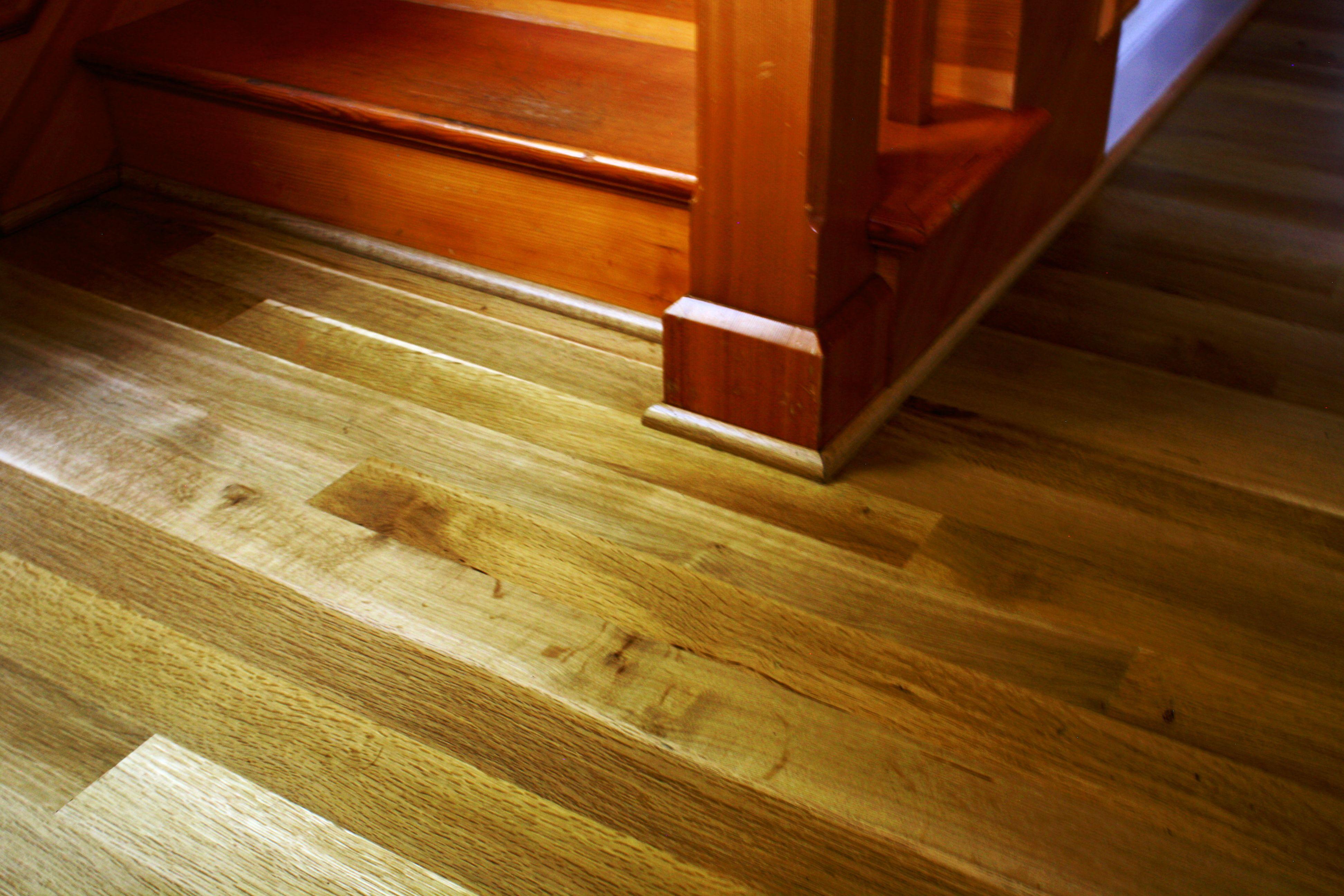 Oregon White Oak hardwood floors and Douglas Fir stairs