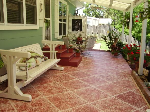Lovely Tile Patio Floor, Sponge Painting Results In Tile Like Floor For Patio .