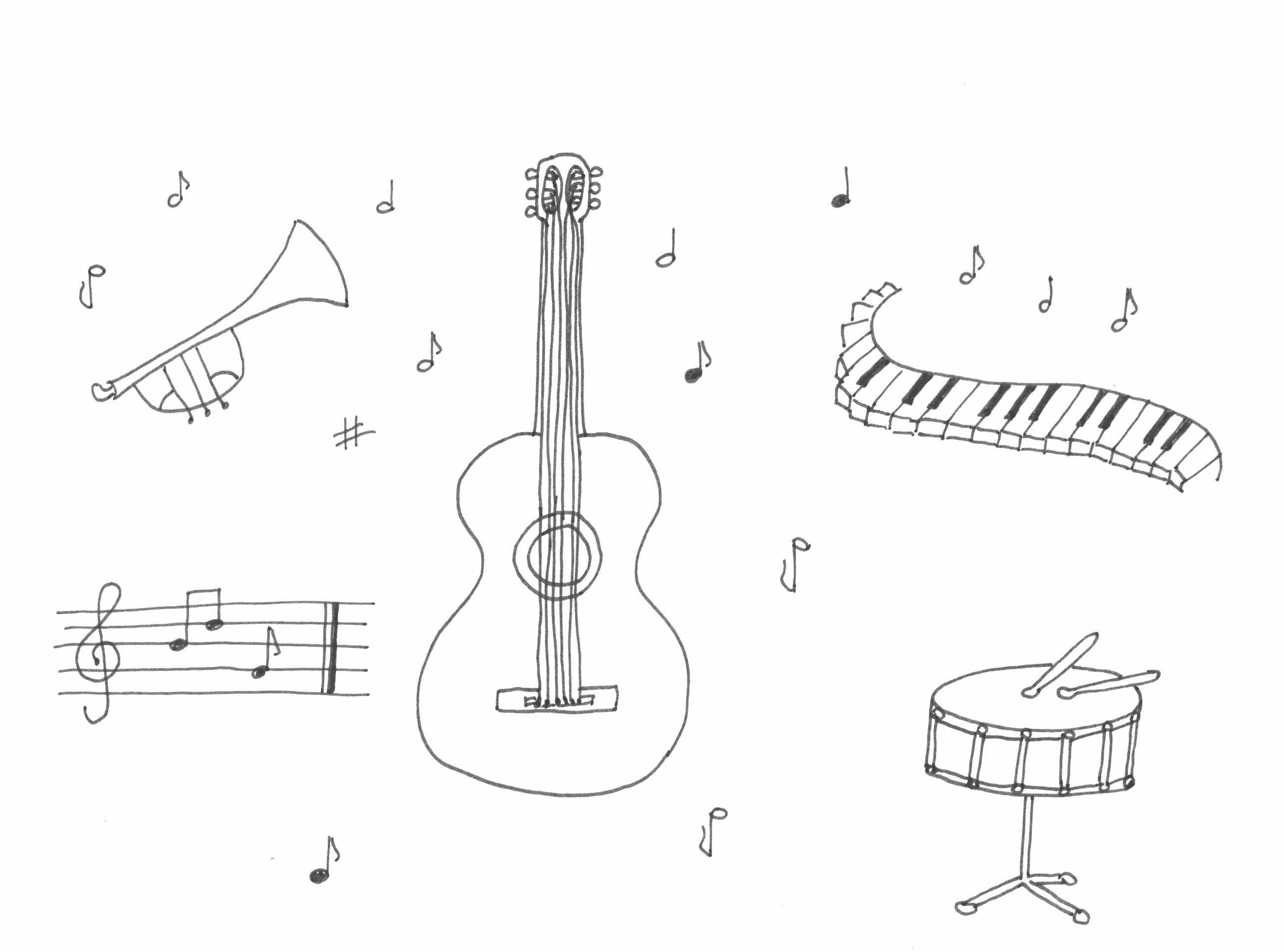 hangszerek rajz drawing musical instrument coloring page