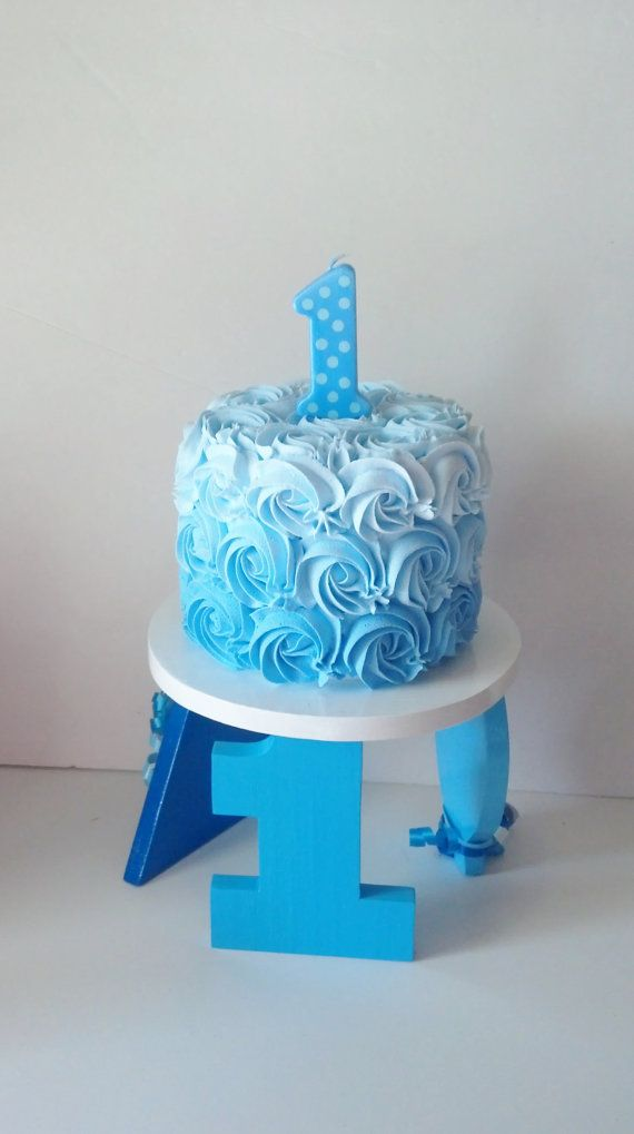 Boys Blue Ombre First Birthday Fake Smash By