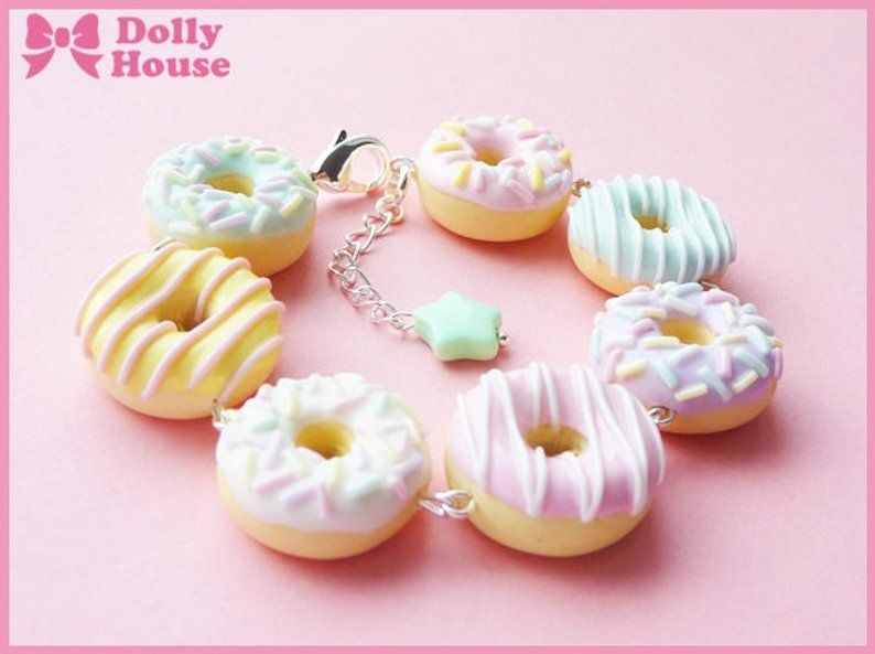 POLYMER FIMO BEADS BEAUTIFUL 6 DONUT CHARMS