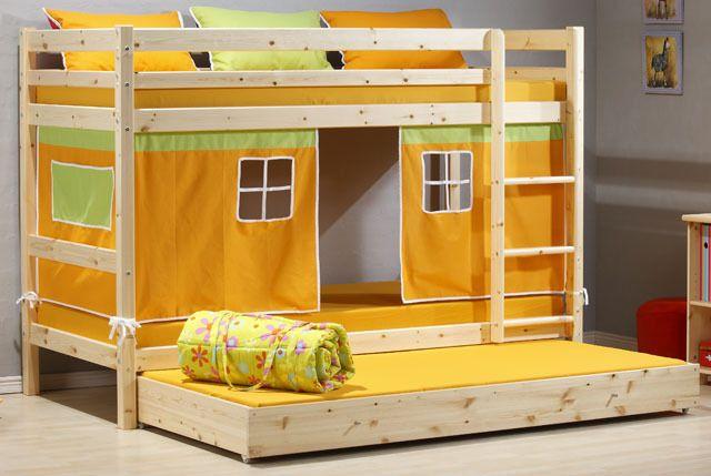 Cameretta bambino letto a castello legno -3 piazze- letto estraibile ...