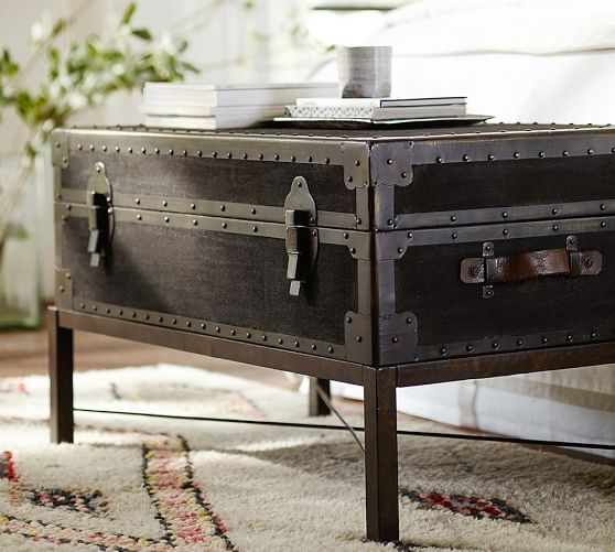 Ludlow Vintage Trunk Coffee Table With Images Coffee Table Trunk Coffee Table Pottery Barn Coffee Table Wood