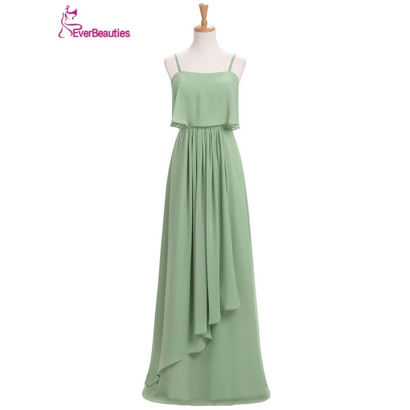 Bridesmaid Dresses Long 2018 Chiffon with Pleat Floor-Length ...