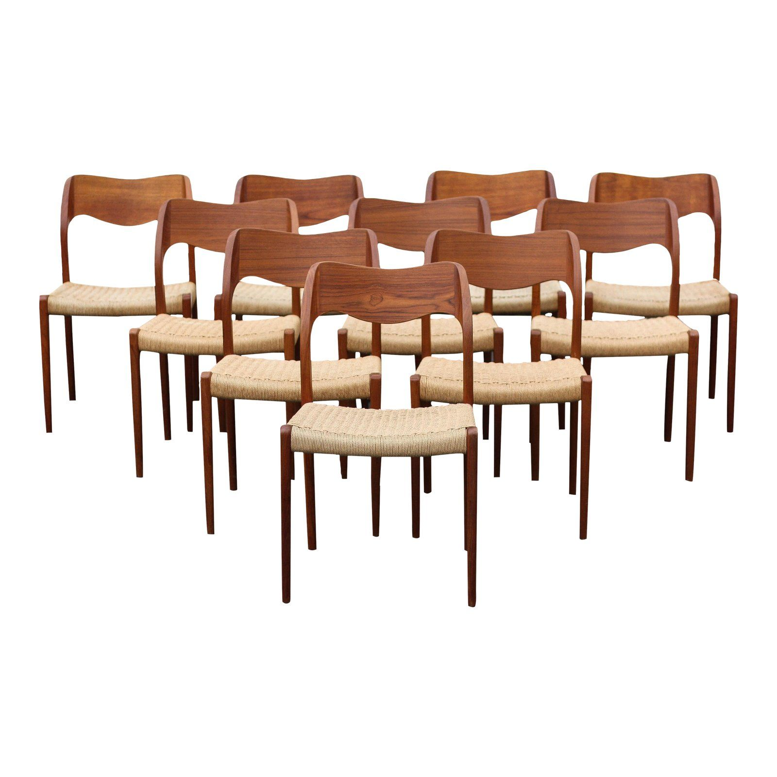 1960s Vintage Moller Model 71 Teak And Papercord Chairs Set Of 10 Chairish Dining Chairs Chair Dining Chairs For Sale