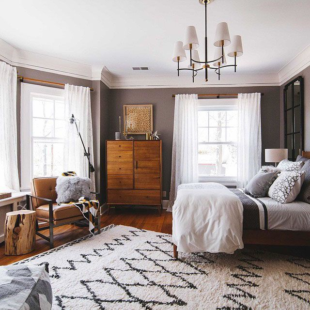 Masculine Master Bedroom: Wall Color. Geo Rug. Light Curtains. Square Chair. Stump