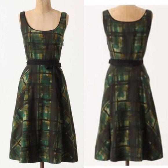 e973334c2923 Anthro Maeve Painted Plaid dress Plaid Dress, My Wardrobe, Anthropologie,  Two Piece Skirt