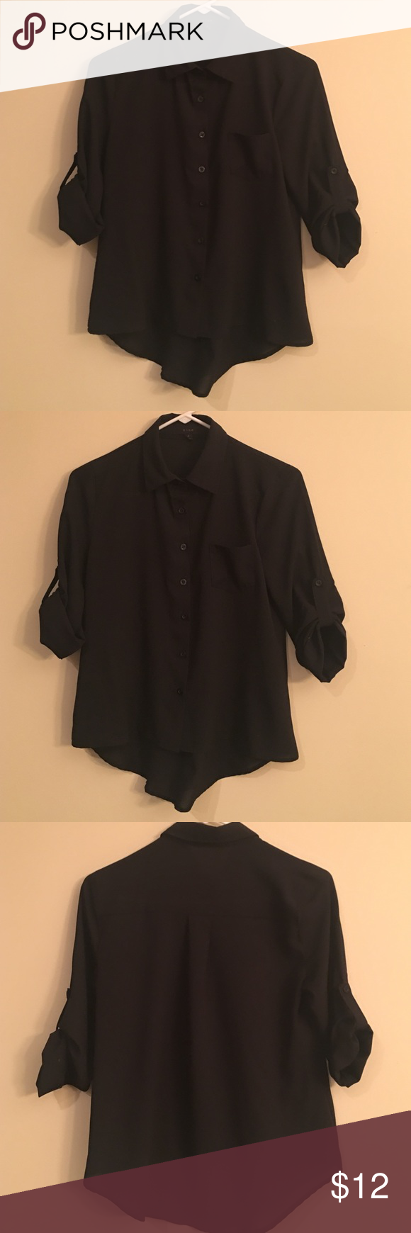 Black Button Down Cute Top! Longer in the back. Light weight. Barely worn Tops Button Down Shirts