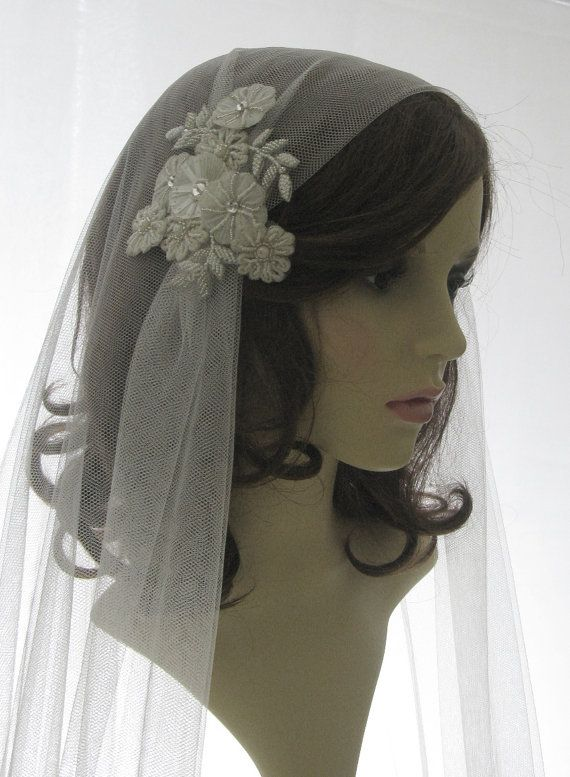 1920s style wedding veil couture