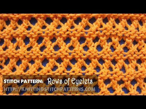 Watch this video to learn how to knit the Rows of Eyelets