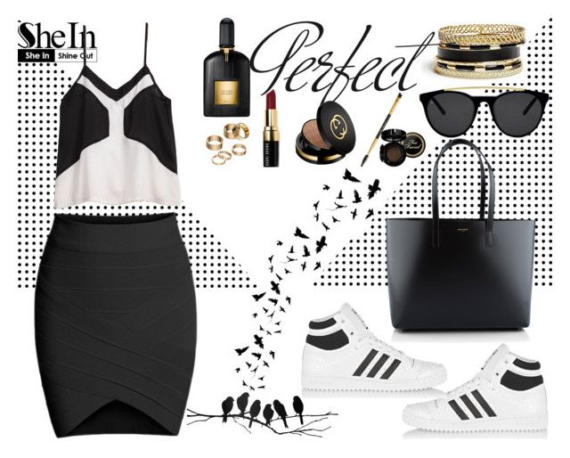"""""""She In 7"""" by nerma10 ❤ liked on Polyvore featuring Yves Saint Laurent, adidas Originals, Smoke & Mirrors, GUESS, Tom Ford, Tag, Bobbi Brown Cosmetics, Gucci, ferm LIVING and Apt. 9"""