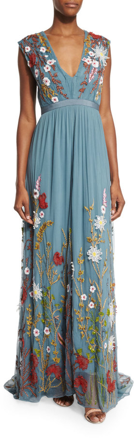 Alice + Olivia Merrill Floral-Embroidered Sleeveless Maxi Dress ...