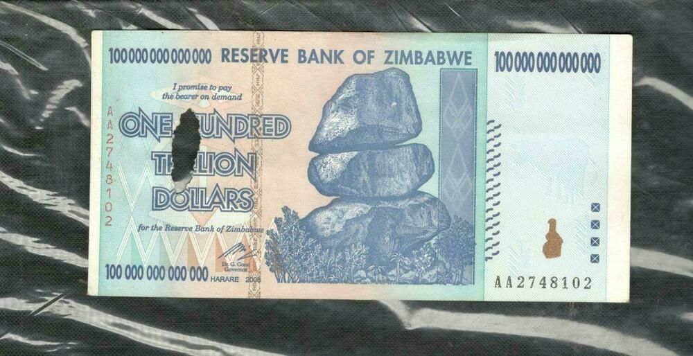 2 Zimbabwe banknotes-1 x 50 /& 100 Trillion dollars-2008//AA authentic currency