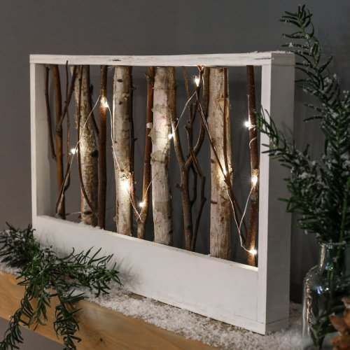 Wooden Battery Light Up Nordic Rectangle Frame With Twigs
