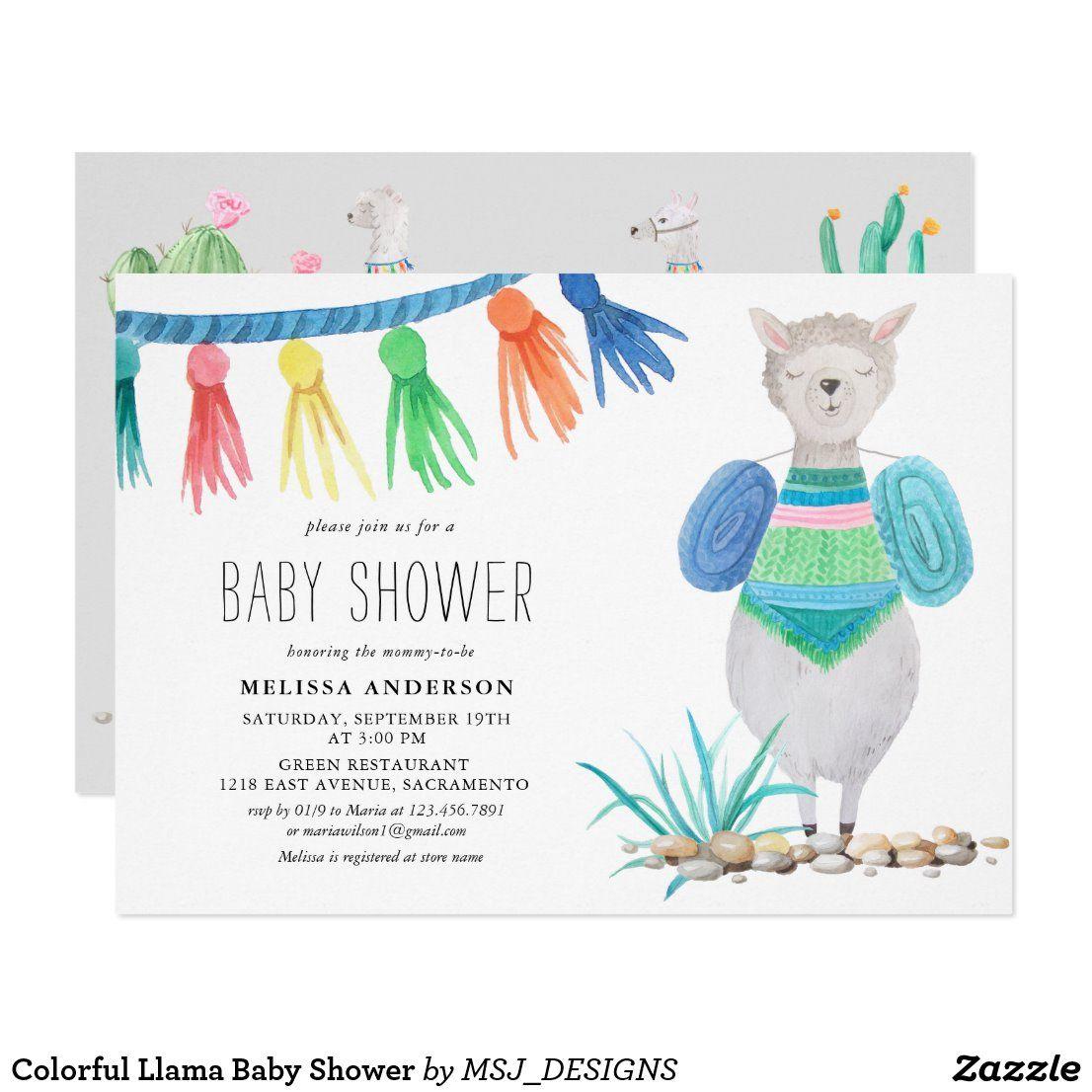 Colorful llama baby shower invitation zazzlecouk in