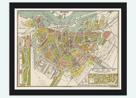 Old Vintage Map Of Amsterdam Netherlands Antique Vintage Map - Antique maps amsterdam