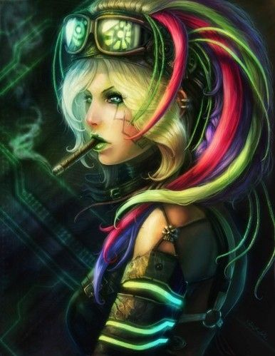 Art Artwork Cyberpunk Digital Art Drawing Fantasy Female