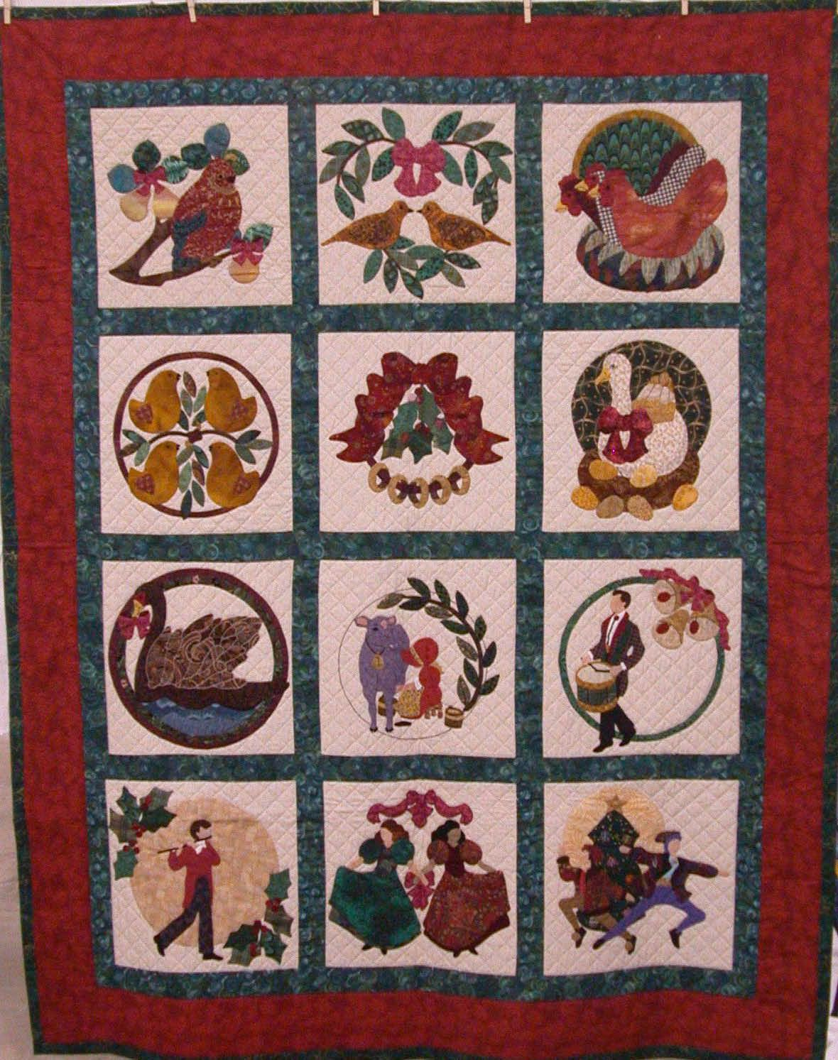 12 Days Of Christmas Quilt Blocks Nice Idea For Applique Christmas Applique Patterns Christmas Quilts Christmas Quilt Blocks
